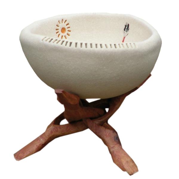 Bild von Indianherbs Räucherschale 13cm, mit Holzgestell