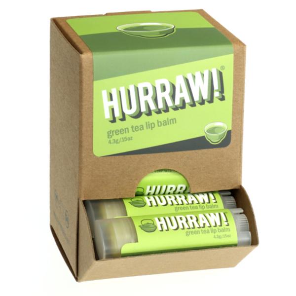 Bild von HURRAW! Green Tea Lip Balm Display à 24 Stück